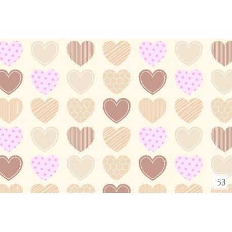 Tkanina bawełniana serca beżowe