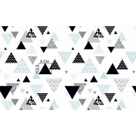 Tkanina bawełniana trójkąty czarno-niebieskie