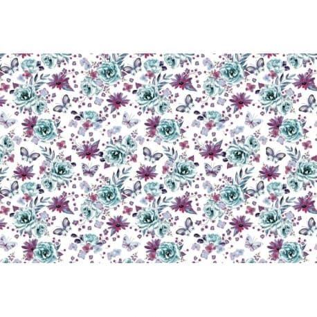 Tkanina motyle-kwiaty belka 5.30 PLN netto / mb