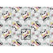 Tkanina panda kwiaty szara belka 5.90 PLN netto / mb