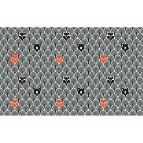 Tkanina bawełniana lisy grafitowe 115
