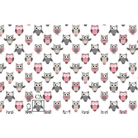 Tkanina bawełniana sówki szaro-różowe