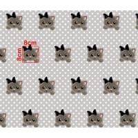 Tkanina bawełniana koty szare