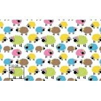 Tkanina bawełniana owce kolorowe