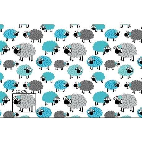 Tkanina bawełniana owce niebieskie