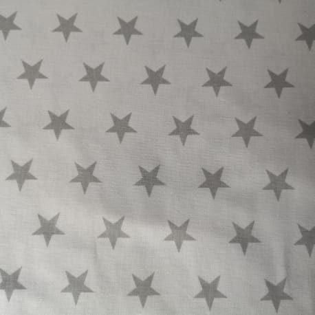 Tkanina bawełniana gwiazdki szare - biała