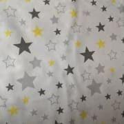 Tkanina bawełniana gwiazdki szaro - żółte