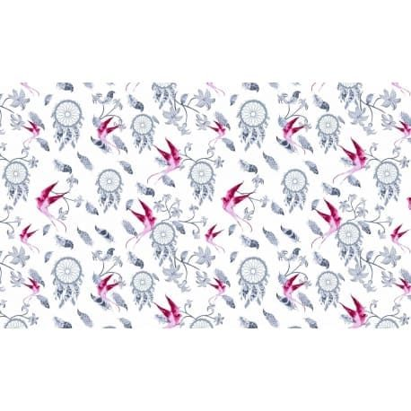 Tkanina bawełniana ptaki różowe