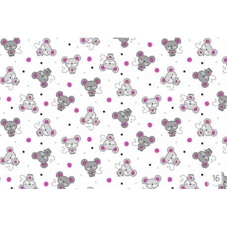 Tkanina bawełniana myszki różowe