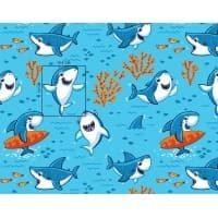 Tkanina bawełniana rekinki niebieskie