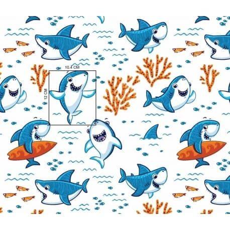 Tkanina bawełniana rekinki białe