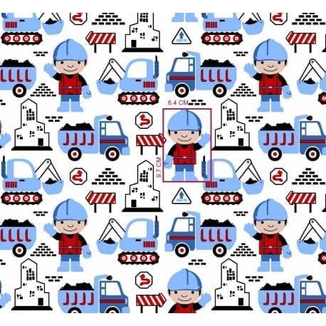 Tkanina bawełniana roboty drogowe niebieskie