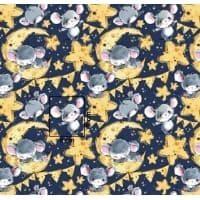 Tkanina bawełniana myszki na księżycu