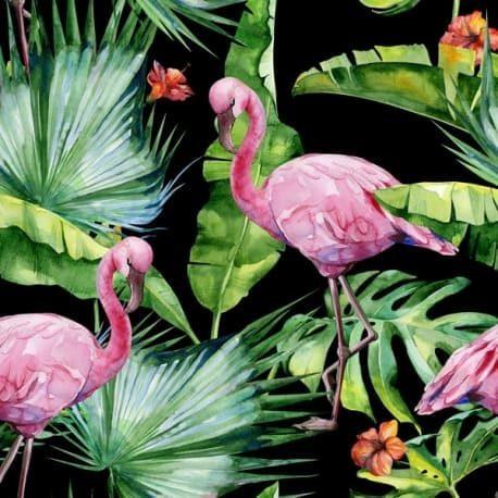 Druk velvet flamingi