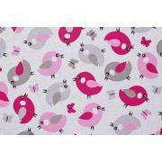 Tkanina bawełniana ptaszki różowe