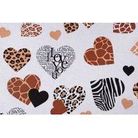 Tkanina bawełniana serca karmelowe
