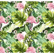 Tkanina bawełniana flamingi / liście