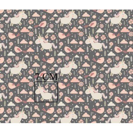 Tkanina bawełniana jednorożce szare