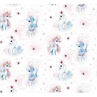 Tkanina bawełniana jednorożec / łabądź biały