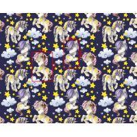 Tkanina bawełniana jednorożec fioletowy