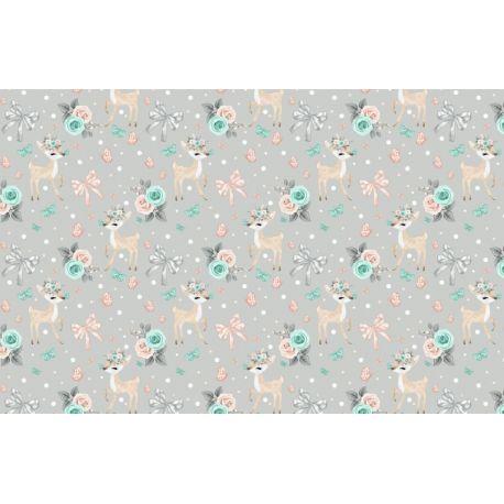 Tkanina bawełniana sarenki-kwiaty
