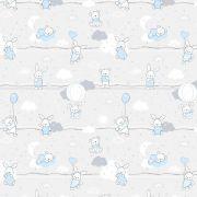 Tkanina bawełniana misie-zajączki niebieskie