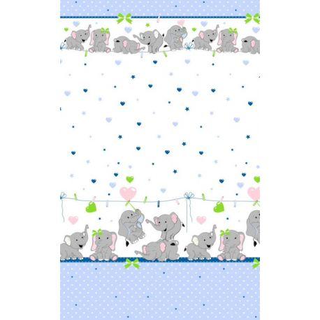 Tkanina bawełniana słoniki niebieskie