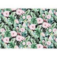 Tkanina bawełniana flamingi - kwiaty