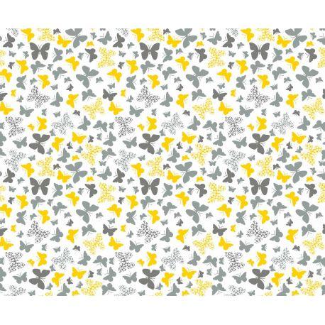 Tkanina bawełniana motylki szaro-żółte 111