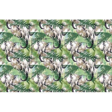 Tkanina bawełniana słonie 417