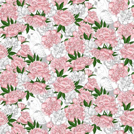 Tkanina bawełniana kwiaty-papuga 1118