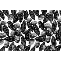 Tkanina bawełniana liście czarne