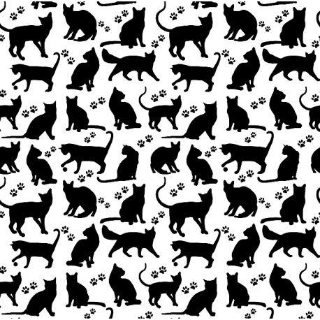 Tkanina bawełniana koty czarne