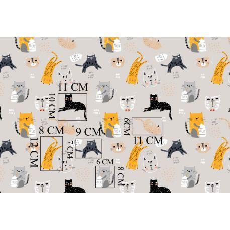 Tkanina bawełniana koty beżowe