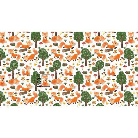 Tkanina bawełniana liski w lesie