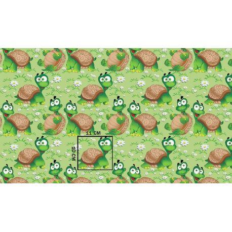 Tkanina bawełniana żółwie
