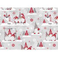 Tkanina bawełniana świąteczna mikołaje