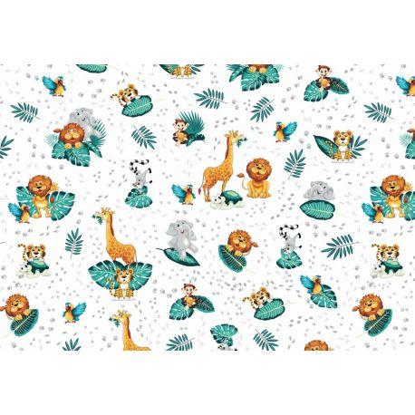 Tkanina bawełniana zwierzątka zoo