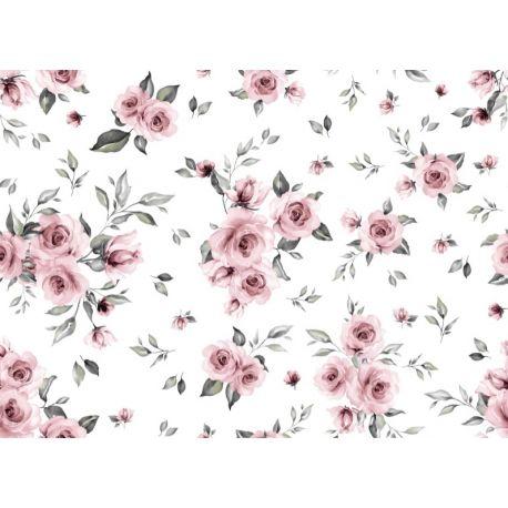 Tkanina bawełniana kwiaty pudrowe