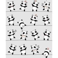 Tkanina bawełniana panda szara