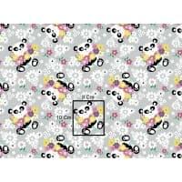 Tkanina bawełniana panda kwiaty szara