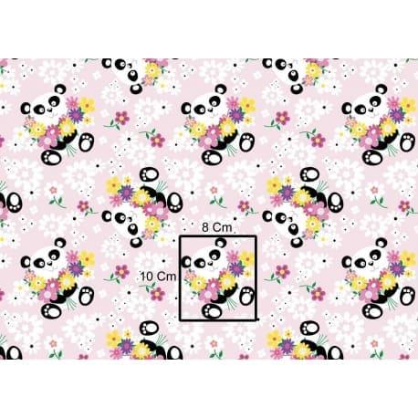 Tkanina bawełniana panda kwiaty różowa