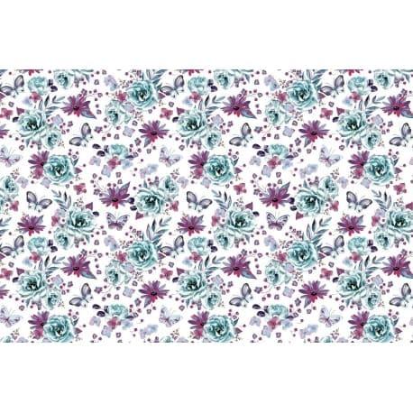 Tkanina bawełniana motyle-kwiaty