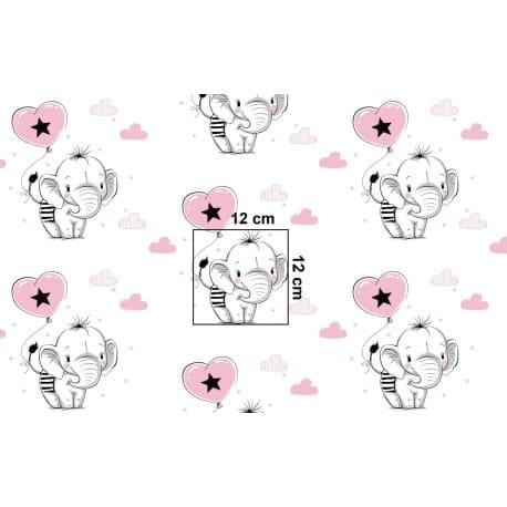 Tkanina bawełniana słoniki różowe